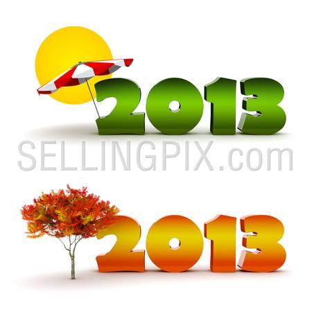 New Year 2013 calendar background set. Summer and autumn season.