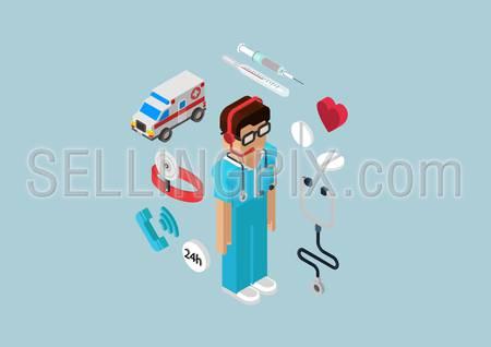 Medical emergency ambulance car all-day first aid service professional doctor nurse. Flat 3d isometric pixel art modern concept vector web illustration materials website infographics pixelart pills.