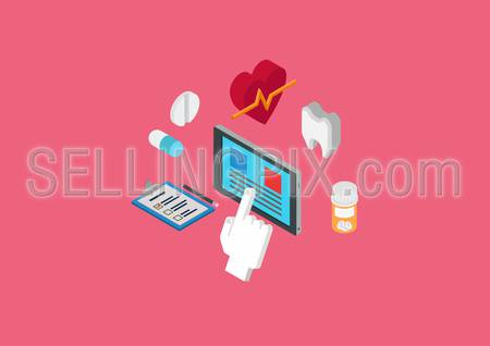 Medical diagnostics, heart beat and dental monitoring tablet software. Flat 3d isometric pixel art modern design concept. Tooth, pills, touch screen tablet, checklist vector. Flat web site infographic