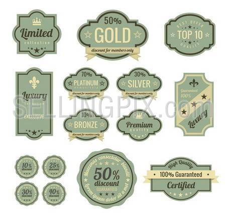 Vintage Labels set. SALE, Discount, Membership, Premium Quality, Exclusive label designs. Badge icons collection. Retro logo template. High quality vector.
