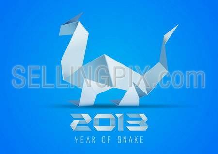 Snake Origami 2013. Greeting card design template. Vector. Editable.