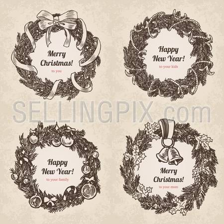 Hand drawn wreath holiday set. Happy New Year and Merry Christmas handdrawn engraving style postcard, poster, banner template. Pen and pencil paper drawing retro vintage vector lineart illustration.