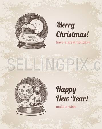 Crystal ball house elk set Christmas New Year handdrawn engraving style template postcard poster banner print. Web site pen pencil crosshatch hatching paper painting retro vintage vector lineart illustration.