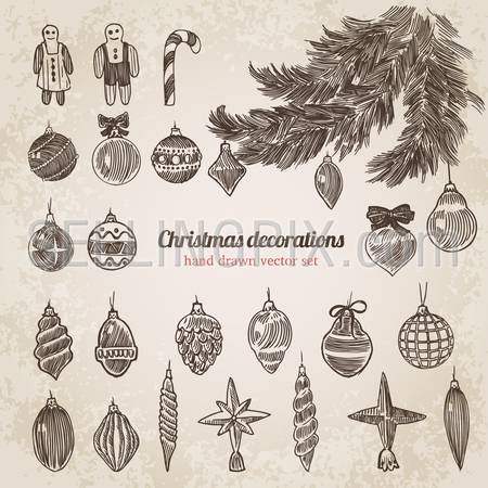 Christmas tree decorations set New Year handdrawn engraving style template. Pen pencil crosshatch hatching paper drawing retro vintage vector lineart illustration.