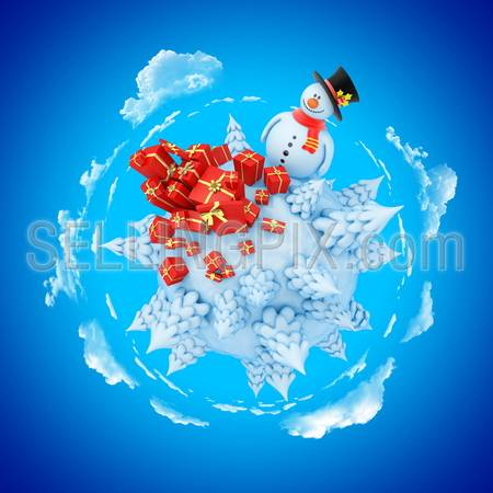 New Year mini planet concept. Snowman with fir and gifts.