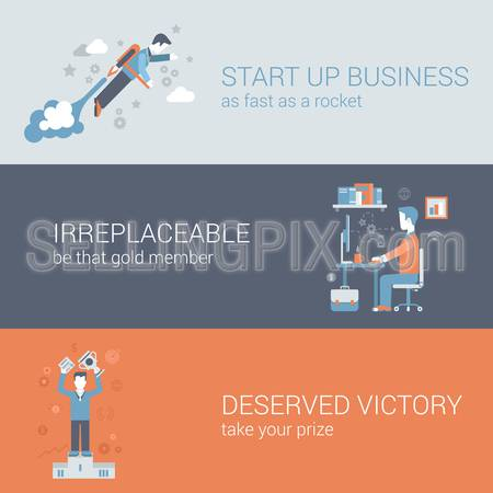 Flat quick start up business, work hard, win concept. Vector icon banners template set. Rocket man launch, workplace, irreplaceable, deserved victory. Web illustration. Website infographics elements.