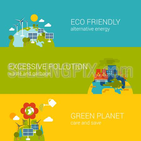 Flat ecology, eco friendly, pollution, green planet concept. Vector icon banners template set. Alternative energy, excessive industrial pollution. Web illustration website click infographic elements.