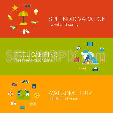 Flat travel, vacation, tourism and holiday concept icons in banners vector template set. Splendid trip, cool camping, awesome flight conceptual. Flat web illustration infographics elements collection.