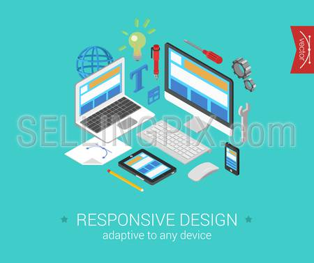 Flat responsive webdesign 3d isometric modern design concept vector. Laptop, desktop, tablet, touch screen phone website interface. Flat web illustration infographics collection for website.