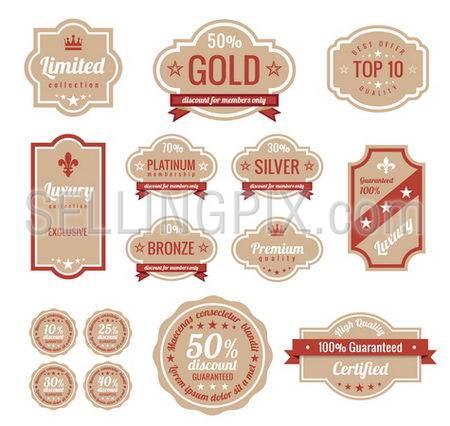 Sale discount RETRO labels. Old Design Stickers pack.  Premium, Gold, Silver, Bronze Vintage Labels. Retro logo template. Trendy design. High quality.