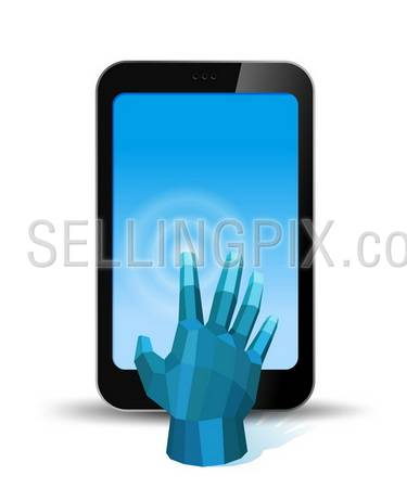 Digital Hand touch smartphone screen. Copyspace for your application or logo. Concept for application. Vector. Editable.