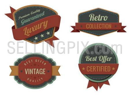 Vintage Labels template collection. Luxury Retro logo template. Extra High quality. Old design 3D Vector.