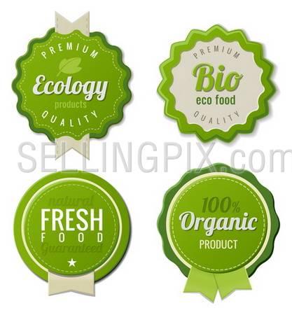 Eco Vintage Labels Bio template set. Ecology theme.  Retro logo template design. Extra High quality. 3D Vector.