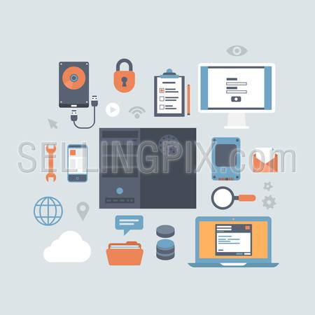 Server computing hosting workspace modern flat design style equipment icon set. Hard disk drive, SSD storage backup, service, laptop, login authentication, database, folder, touch screen smart phone.