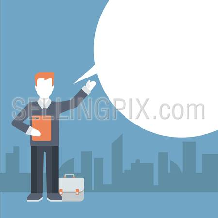 People talking balloon message comic modern style flat template vector. Young businessman with briefcase talks and blank copyspace place for your text or logo. Flat business templates collection.