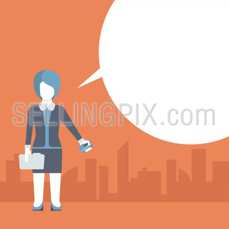 Flat payment checkout concept template. People talking balloon message comic modern style vector. Businesswoman with bank credit card and blank copyspace place for your text or logo. Flat templates.