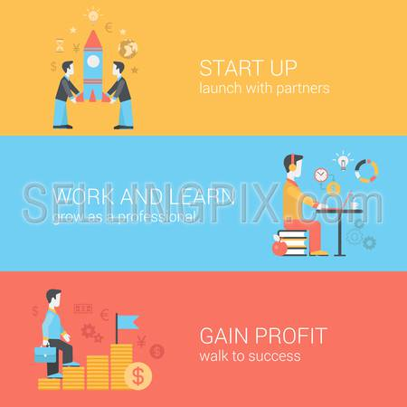 Start up, work and learn, gain profit concept. Partners launching rocket, walk to success, time is money. Vector icon banners template set. Web illustration. Website infographics elements.