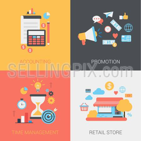 Accounting, promotion, time management and retail store concept. Document, calculator, coins, pencil, loudspeaker etc. Vector icon banner template set. Web illustration. Website infographic elements.