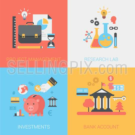 Project management, research lab, investments, bank account concept. Briefcase, hourglass, flask, bulb, piggy bank. Vector icon banners template set. Web illustration. Website infographics elements.