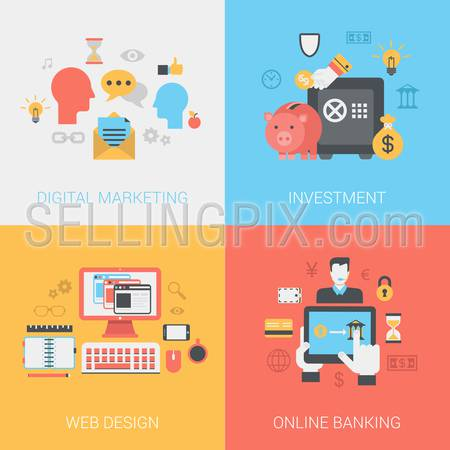 Digital marketing, investments, web design, online banking concept. Vector icon banners template set. Social media promotion, piggy bank safe, money bag. Web illustration. Website infographic element.