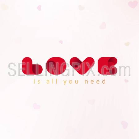 Love is all you need. Letter V such a Heart.  St. Valentines day greeting card concept. Vector.