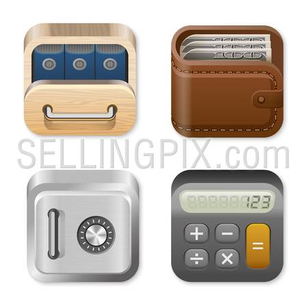 Icons for user interface design templates. Application logo template for Finance and Business apps. Drawer, Wallet, Vault, Calculator. UI Square icons set. High detail vector icon pack. Editable.
