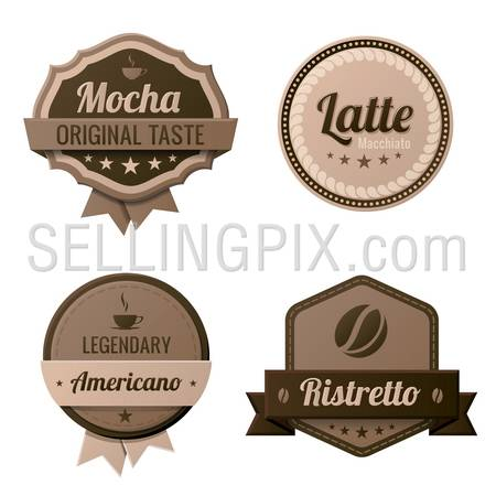 Coffee Vintage Labels logo template collection.  Cafe Retro style. Mocha, Latte, Americano, Ristretto. Vector icons.