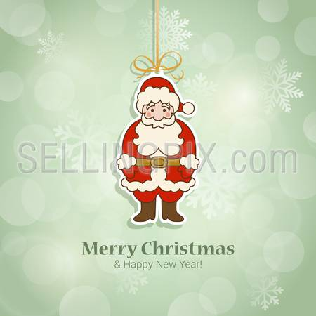 Christmas and New Year sticker style postcard template vector. Santa Claus icon on thread with Merry Christmas and Happy New Year congratulations. Holiday templates collection.