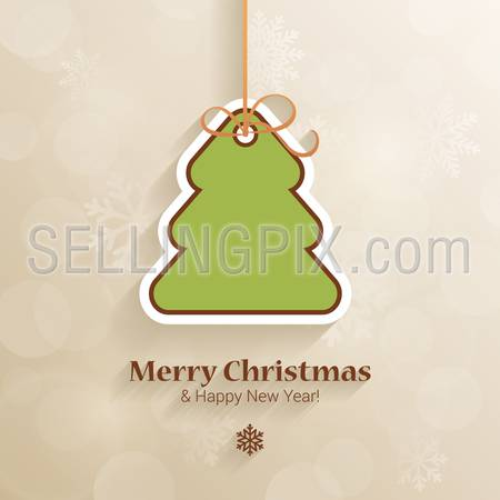 Christmas and New Year sticker style postcard template vector. Fir tree icon on thread with Merry Christmas and Happy New Year congratulations. Holiday templates collection.