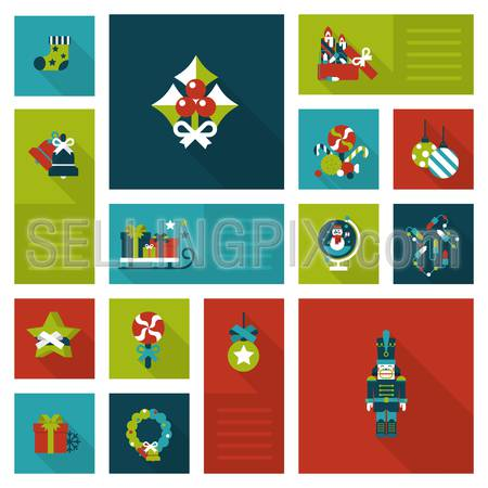 Flat style Xmas decorations: cranberries, garland, wreath, sock, sledge, present gift box, candy, nutcracker. Christmas and New Year labels icon set. Holiday web icon collection.
