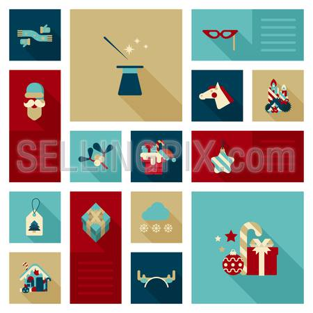 Flat icon set Christmas, New Year, winter holidays object, item, clothes, decoration elements. Scarf, gloves, wizard hat, magic wand, masquerade mask, horse head, gifts, Santa, candy web site icon set