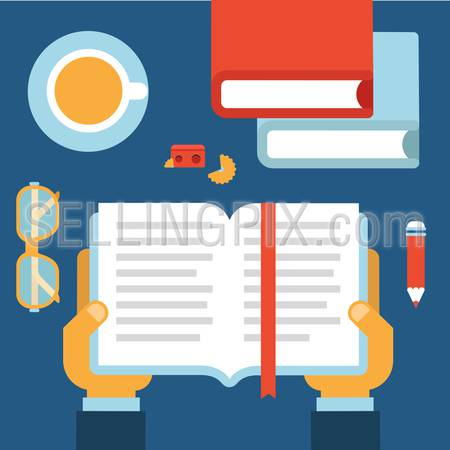 Flat style desktop with hands opened book for education reading infographic icon set. Desk with books, tea cup, glasses, pencil, sharpener. Workplace table top view collection.