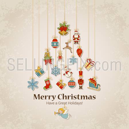 Decorative objects in fir tree silhouette. Merry Christmas and Happy New Year sticker label decorations modern style vector postcard template. Stylish concept icons set of Xmas and winter holidays.
