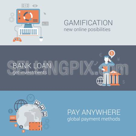 Flat gamification, bank loan investment, pay anywhere concept. Online internet business technology web site icon banners templates set. Website conceptual flat vector illustrations collection.