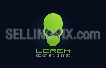 Alien green logo template. Abstract character.Vector icon.