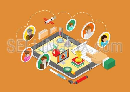 Flat 3d isometric science, online education, teaching and coaching on tablet infographic concept vector. People avatars connected, book, flask, apple, computer, document, report and finger touch.