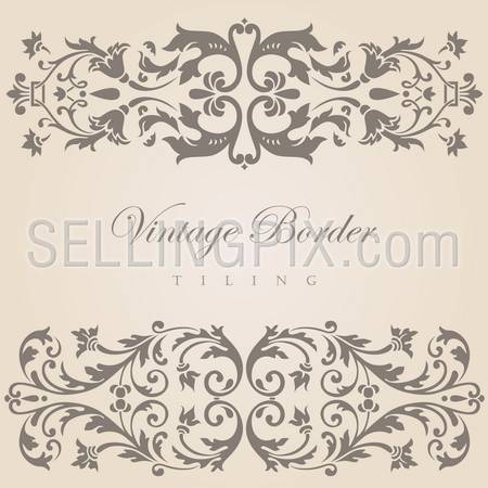 Vintage border tiling elements collection.  Vector abstract Floral ornament.