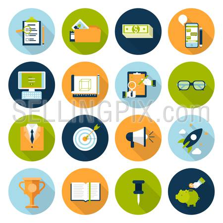 Flat web infographic icon set. Online business, digital marketing, strategy management planning, research, promotion, e-commerce, technology, internet concept icons. Checklist, phone chat and savings.