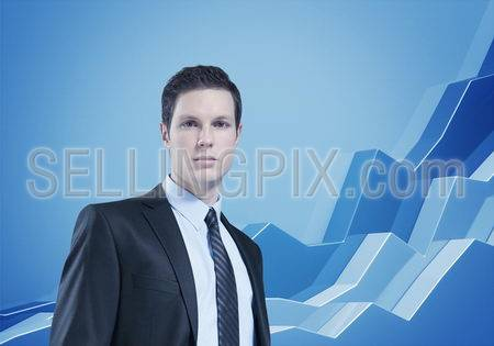 Financial report & statistics.  Business success concept. Businessman with diagram on background.