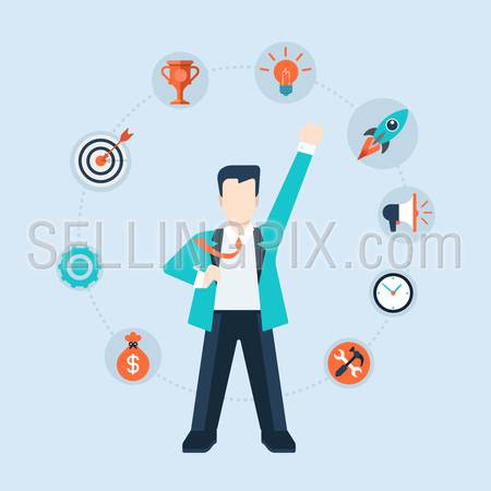 Flat style modern businessman leadership time management concept vector icon collage. Business man CEO leader in suit stands with fist hand up like hero. Activity, target, idea, promotion icons around