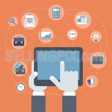 Flat style modern business innovation finance technology payment concept. Tablet on palm, finger touch screen infographics. Web icons collage: gadget, briefcase, wallet, credit card, calculator, clock