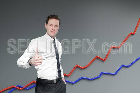 Financial report & statistics. Business success concept.  Businessman shows thumb up with growth progress graph on background.