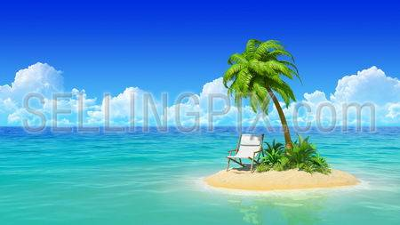 Desert tropical island with palm tree and chaise lounge. Concept for rest, holidays, resort, travel.