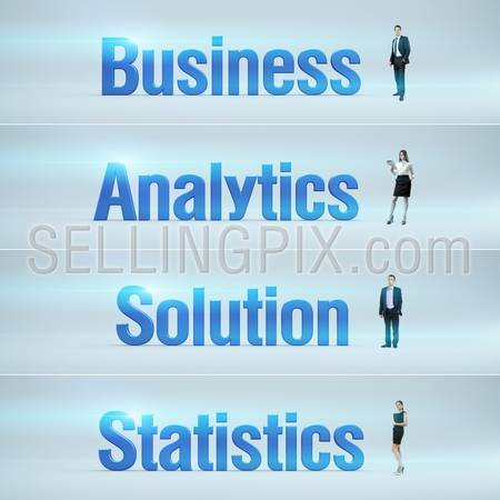 Business, Analytics, Solution, Statistics : pack of banners with people (man / woman) and word. Businessman or businesswoman stands near big letters. Headers set.