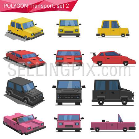 Polygonal style vehicles vector icon set. Yellow car, sport car, van, cabriolet.  Polygon transport collection.