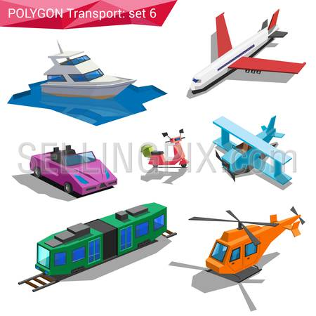Polygonal style vehicles vector icon set. Yacht, airplane, cabriolet, bike, train, helicopter.  Polygon transport collection.
