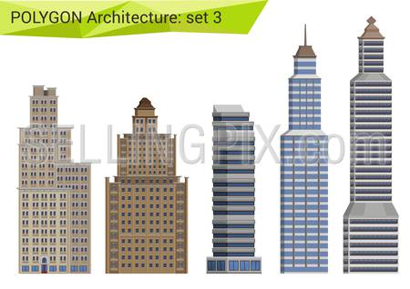 Polygonal style skyscrapers set. City design elements.  Polygon architecture collection.