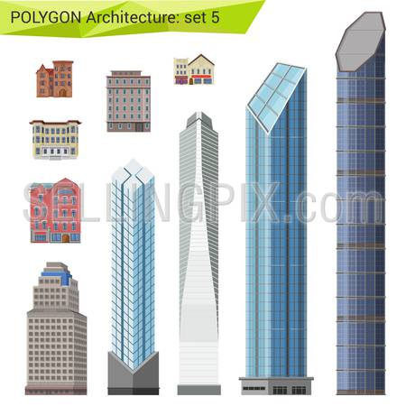 Polygonal style skyscrapers, houses and buildings set. City design elements.  Polygon architecture collection.