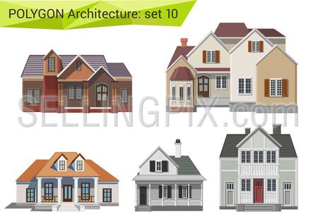 Polygonal style houses and buildings set. Countryside design element.  Polygon architecture collection.