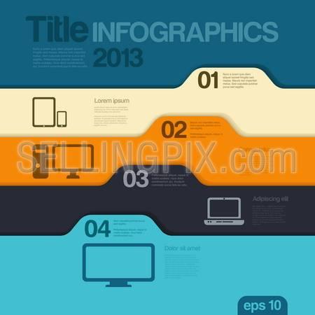 Infographics design template. Folders style concept. Vector. Editable.